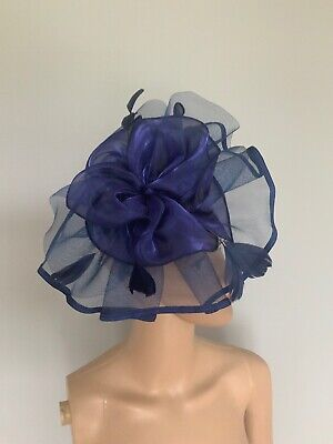 Large Navy Blue Statement Clip Band Fascinator Wedding Ladies Day Accessories