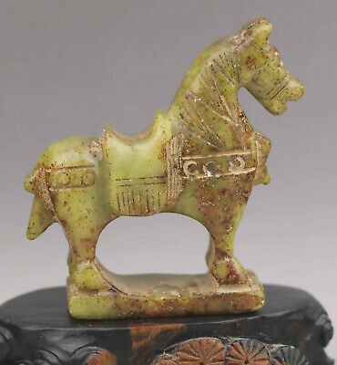 Chinese old natural jade hand-carved statue of horse