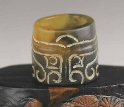 Old Chinese natural jade hand-carved statue of Chinese dragon ring