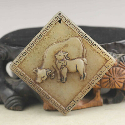 Old Chinese natural jade hand-carved double ox  pendant