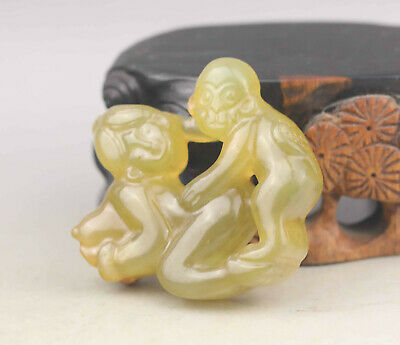 Old Chinese natural jade hand-carved man and woman pendant