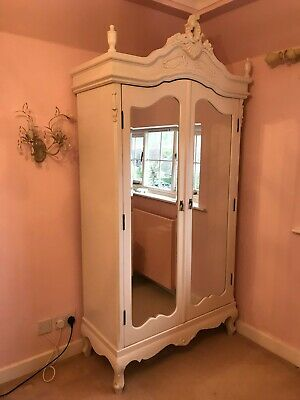 White French-style Shabby Chic Double Mirrored Wardrobe with internal shelves