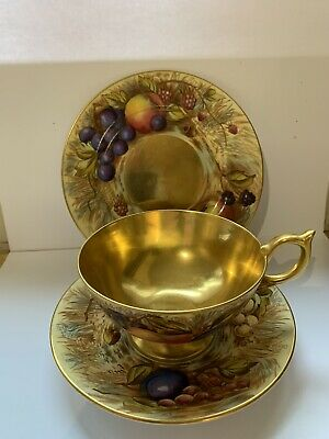 aynsley orchard gold Cup, Saucer And Plate 1950s
