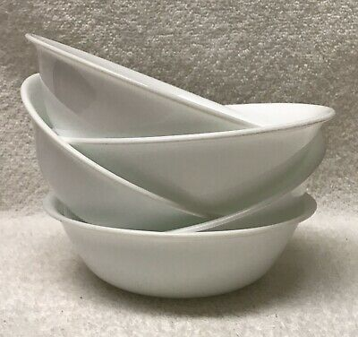 """5 Corelle WINTER FROST WHITE Cereal/Soup Bowls coupe 6-1/4"""" Corning smooth NICE"""