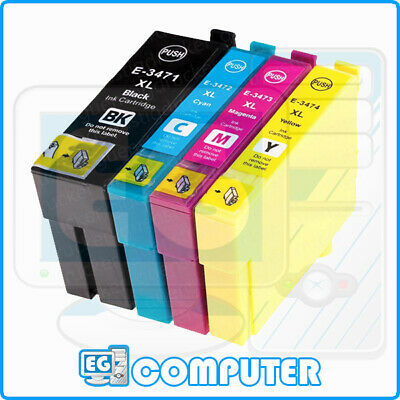 KIT 4 CARTUCCE EPSON COMPATIBILI 34 XL WorkForce Pro WF-3720DWF WF-3725DW 34XL