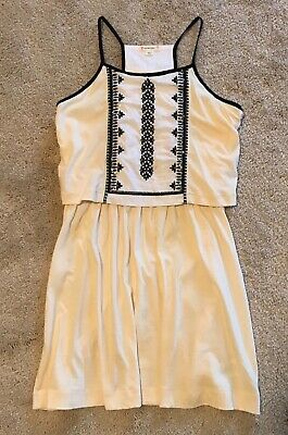 New J Crew Crewcuts Girls Dress Size 8 Ivory with Black embroidery