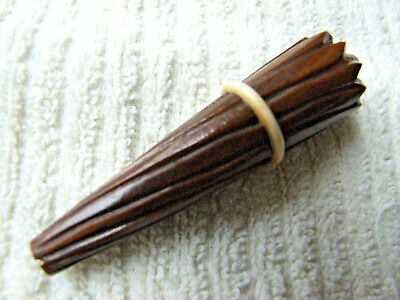 Small Hand Carved Wooden Needle Case with needles, 3 inches long