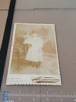 antique cabinet card photo little girl holding creepy doll + 1890s Toledo Ohio