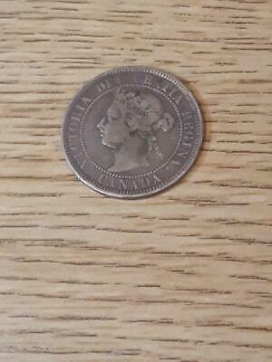 Large Canada One Cent 1884 Queen Victoria Circulated