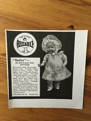 1928 Canadian Canada Ad Reliable Toy Company Smiles Doll Toronto Ontario Winks