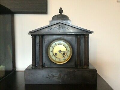 Antique vintage Victorian French Japy Freres Grey Slate Mantle clock 1800 circa