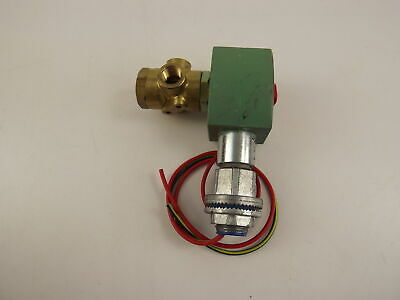 "ASCO Red Hat II 120V Brass Solenoid 3 Way Valve Universal 1/4"" Pipe Size, 150psi"