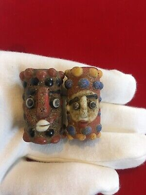 Pair Of Large PHOENICIAN Double Face Beads, Unusual Historical Jewellery