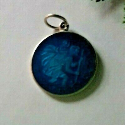 DANECRAFT Sterling Silver and Blue Enamel St. Christopher Charm Pendant