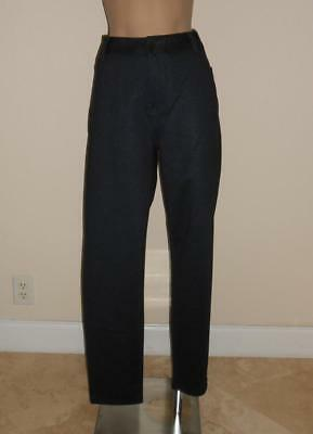 Andrew Marc Pants 14 Navy Herringbone Ponte Knit Slim Legs New with Tags