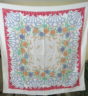 """Vintage 1940s Tablecloth MORNING GLORIES 51"""" Square Red Blue Green Gold LINEN"""