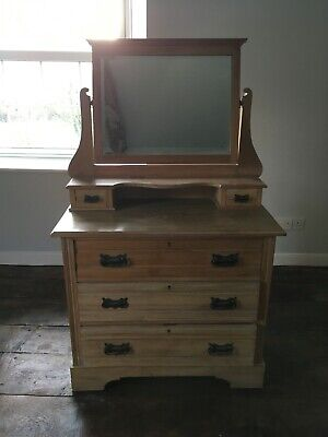 Antique dressing table/chest of draws original with Mirror satinwood see details