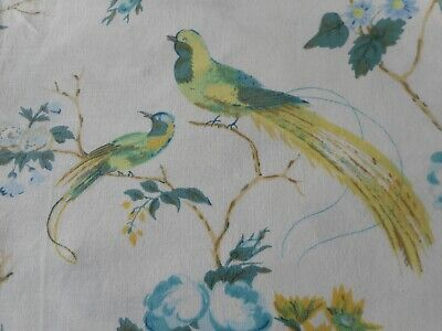 Lovely  Vintage English Roses Birds Floral Cotton Fabric ~ Aqua Blue Teal Yellow