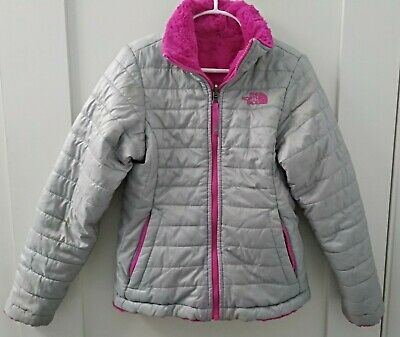 The North Face Girls Size S/P 7/8 Reversible Jacket Pink Gray