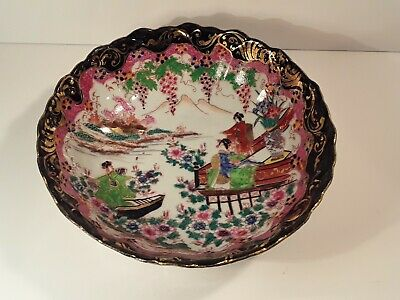 Large Antique Chinese Famille Rose Noir Bowl SIGNED Handpainted Porcelain
