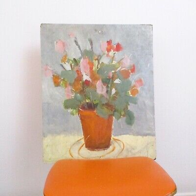 vintage original oil abstract still life flowers in vase painting on board