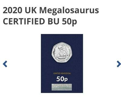 DINOSAUR MEGALOSAURUS 2020 UK BU MINT SEALED CERTIFIED GENUINE 50p COIN L@@K !!