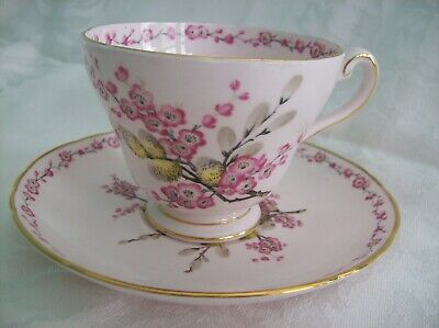 TUSCAN Pink CUP & SAUCER with Pussy Willows and Blossoms APRIL BEAUTY