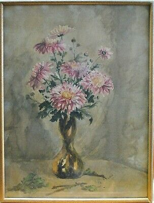 Antique Early 20Th Century Impressionist Flowers Watercolour Painting