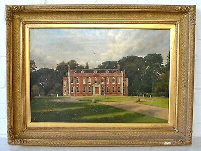 Large 19Th Century Oil Of A Country House - Fine Antique Landscape Painting