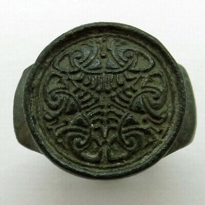 Celtic Ancient Artifact Bronze Seal Ring With Six Eagles