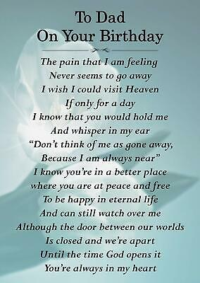 To Dad On Your Birthday Memorial Graveside Poem Card & Ground Stake F159