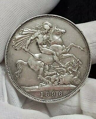 👑1896 | UK QUEEN VICTORIA SILVER FIVE 5 SHILLINGS LARGE CROWN COIN 28g LX