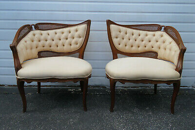 French Caned Pair of Side Living Bed Room Fireplace Den Chairs 1119