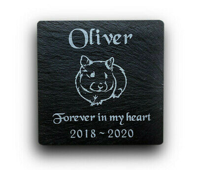Personalised Engraved Slate Pet Memorial Grave Marker Plaque for a Pet Hamster