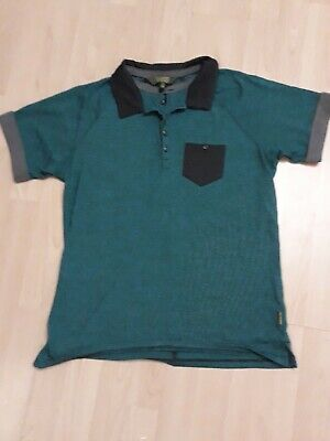 Baker By Ted Baker Boys Green And Navy Stripe Short Sleeve Polo Shirt Age 15 Yrs