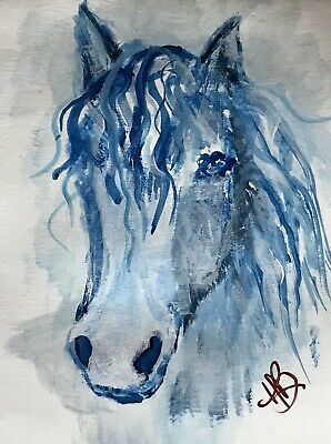 ORIGINAL ACEO  ACRYLIC PAINTING Blue Abstract Horse