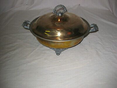 Antique Ornate Brass Footed Dish Tray 1900's LQQK!!