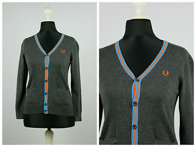 Youths Girls Junior Fred Perry V-neck Cardigan Pullover Jumper Grey Size S