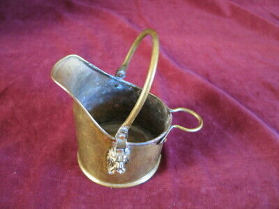 SMALL BRASS BUCKET PLANTER Vintage with lion heads VERY GOOD CONDITION