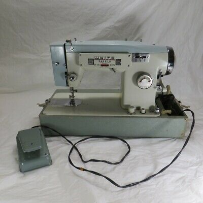 Vintage White Model 365 Zigzag Sewing Machine with Case and Pedal. Works.