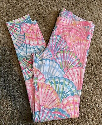 Lilly Pulitzer Leggings Girl Size XL 12-14 Shells Pink Blue Maia Oh Shello