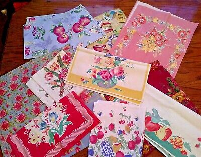 Lot of 10 Colorful KITCHEN LINENS, Florals and Fruits, Tablecloth, Runners, Etc.