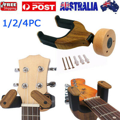 1/2/4x Wooden Guitar Wall Mount Hangers Hook Holder for Electric/Acoustic/Bass