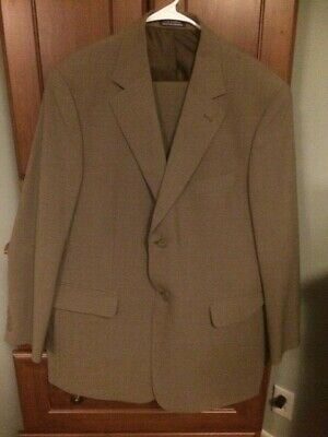 Men's Stafford Full Suit, Beige w/Button Cuff Detailing & Cuffed Trousers