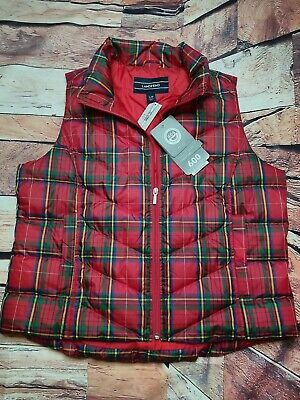 Womens Lands End Outdoor Down Puffer Vest Size Large Red Plaid Brand New
