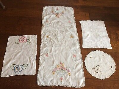 4 Vintage linen HAND EMBROIDERED table runners table toppers
