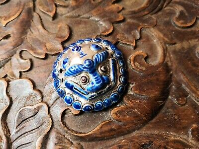 18th C chinese antique silver enamel tiger head pendant