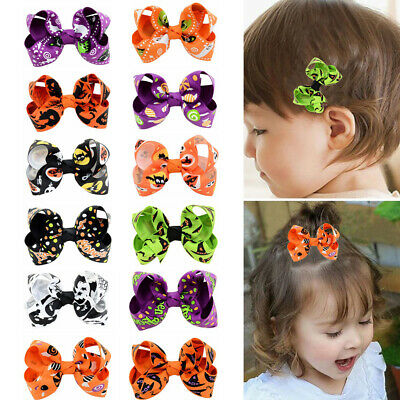 2Pcs Halloween Bow Children Cartoon Kids Hair Clip Hair Accessories c