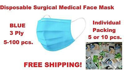Disposable Surgical Medical Face Mask 3 Ply Respiratory Protection 5-100 pcs