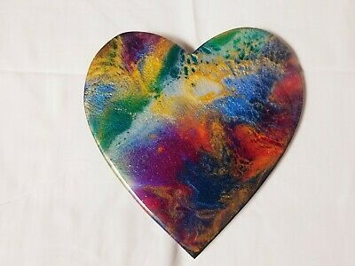 "9"" Resin Heart on Wood - Resin Art - Abstract Art - Resin Painting"